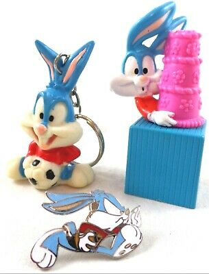 wb Tiny Toons Buster Bunny LOT Warner Brothers Looney Tunes Key Ring Pin W/Cake
