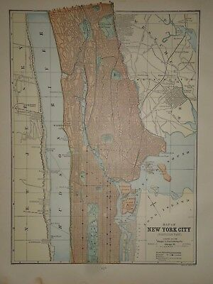 Vintage 1888 NORTHERN NEW YORK CITY MAP ~ Authentic Old Antique Original Map 917