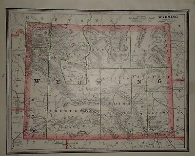 Vintage 1888 WYOMING TERRITORY MAP ~ Authentic Old Antique Original Map 93017