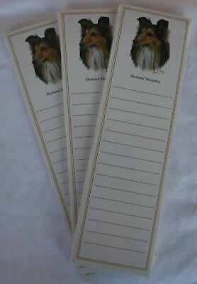 SHETLAND SHEEPDOG Sheltie Dog Magnetic NOTEPAD Note List Pads - SET of 3