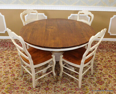 """Fantastic Rustic Pine & White 53"""" Round Kitchen Dining Room Table w/ 4 Chairs"""