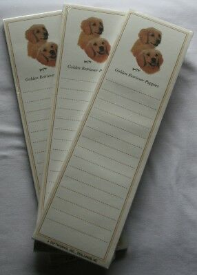 Golden Retriever Puppy Dog Magnetic NOTEPAD Note List Pads - SET of 3