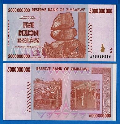 Zimbabwe P-84 Five Billion Dollars 2008 Uncirculated Banknote