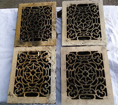 Antique Cast Iron Floor Grate Heat Register Clover Scroll Design Matching Set 4