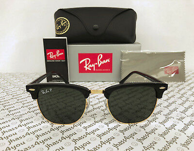 2b3d5cefd50 Ray-Ban Clubmaster POLARIZED Sunglasses RB3016 901 58 Black Frame Green G-