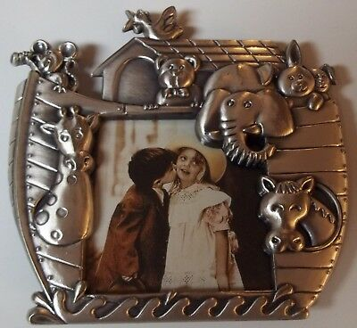 NOAH'S ARK Pewter Picture Frame (Great Baby Shower or Baby's Birth Gift) 3 x 3