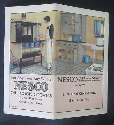 Nesco Oil Cook Stove Folded Color Pamphlet Sold by Bear Lake Pa Store to Frame