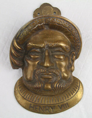 "Vtg Henry the 8th 7 VIII Brass Door Knocker ""G T Britain"""