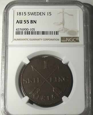 1815 SWEDEN 1 SKILLING, RARE in this CONDITION, NGC GRADED at AU-55