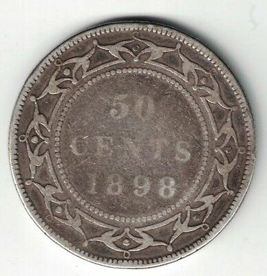 Newfoundland 1898 Large W 50 Cents Queen Victoria Sterling Silver Canadian Coin
