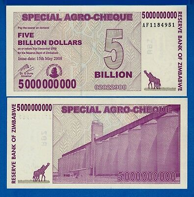 Zimbabwe P-61 Five Billion Dollars Uncirculated