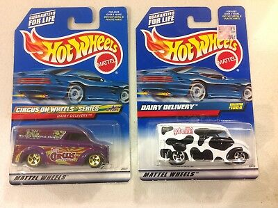 Hot Wheels pair of Dairy Delivery FREE shipping Got Milk, Circus on Wheels