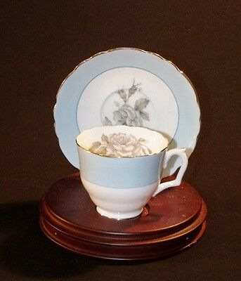 Crown Staffordshire GRAY BLOSSOMS Cup & Saucer