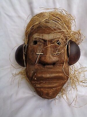 """Indigenous SCULPTURE MASK from Brazil Wooden hand carved 11"""" x 6"""" Gourd earrings"""