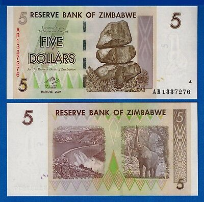 2003 LOT Zimbabwe P-12b 5 x 1000 dollars UNC /> Elephants