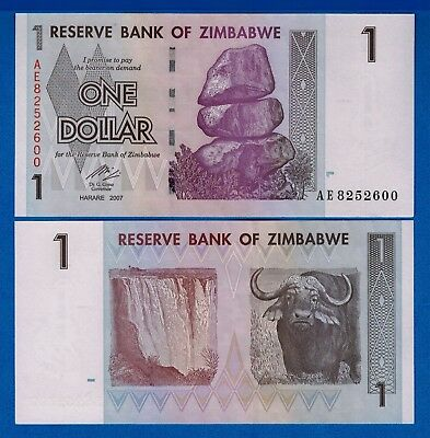 Zimbabwe P-65 $1 Dollars Year 2008 Waterfall Uncirculated Banknote Africa