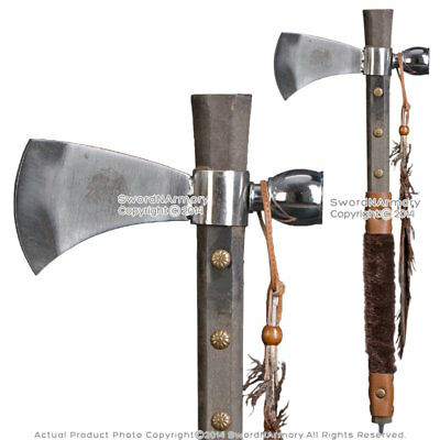 """19"""" Indian Chief's Tomahawk Axe Hatchet with Tobacco Smoking Peace Pipe Feather"""
