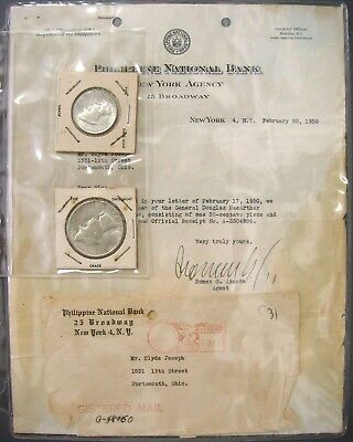 1947 S Philippine Peso & ½ Peso with their original letter, envelope and receipt