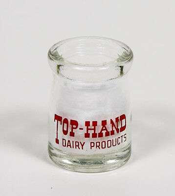 Vintage Dairy creamer TOP HAND products glass pyro red ACL BOTTLE