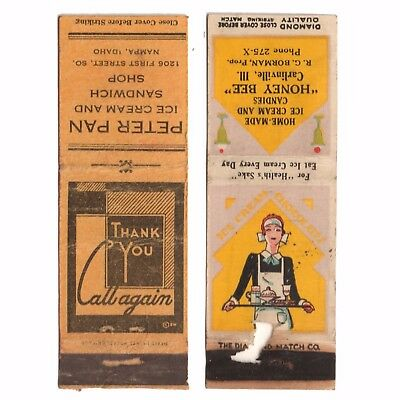 1930s PETER PAN & HONEY BEE - ICE CREAM CANDY SANDWICH SHOP Matchbook Covers