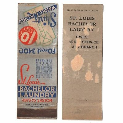 1930s BACHELOR LAUNDRY SHIRTS WASHED & IRONED Advertising Matchbook Cover