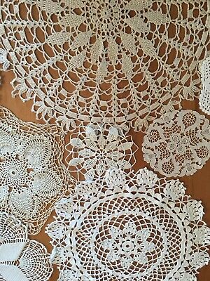 Large Lot Of 40 Vintage Lace Crochet Doilies White Tan Cream Small & Large Sizes