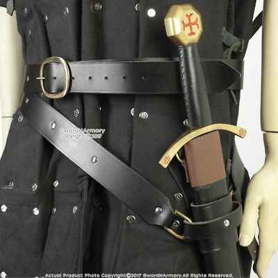 Medieval Style Double Wrap Genuine Leather Sword Belt Frog LARP SCA Medium Size