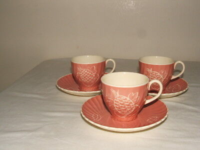 Susie Cooper Art Deco Rare Pink Fruits Cups & Saucers Truly Stunning