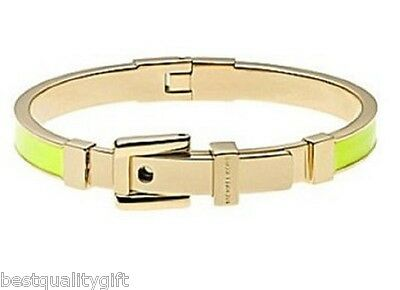 Michael Kors Gold Tone Yellow Enamel Hinge Belt Buckle Bangle Bracelet Mkj2617
