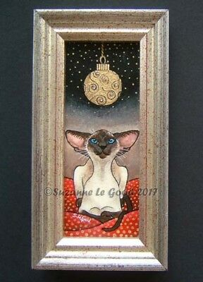 Siamese Cat framed painting with crystals gold metallic leaf by Suzanne Le Good