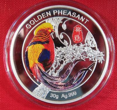 2017 China Golden Pheasant 30g Silver Colorized Proof & COA VERY LOW 5008 MINTED