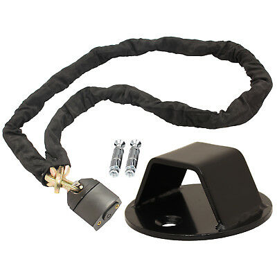 Ryde 1.8M Heavy Duty Motorcycle Chain Lock & Black Wall/ground Anchor Security