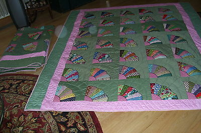 """Wonderful Matching Pair of Twin Size FAN QUILTS-76x85"""""""