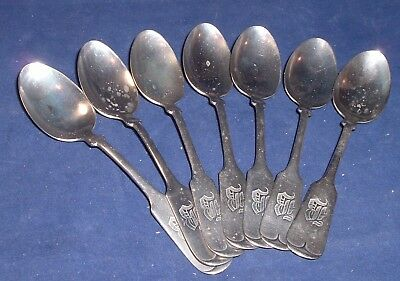 7 Antique Fiddle Brazil Silver Spoons with Monogram B , old 19th century