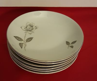 4 Pcs Queens Royal Fine China Japan,shadow Rose Platinum Rose Dinner Plate 10''