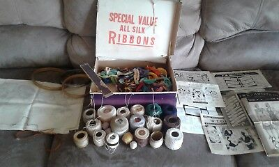 Vintage Embroidery Thread Silk Ribbon Box Pattern F.w. Woolworth Lot Vogart