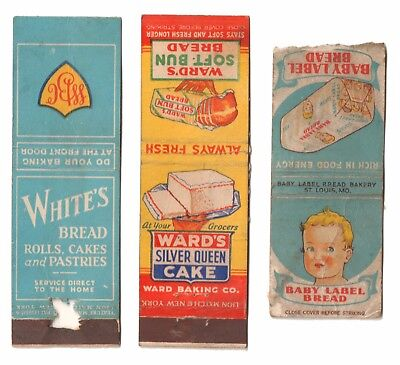 1930s WARD'S SILVER QUEEN CAKE / WHITE'S / BABY LABEL BREAD Matchbook Covers