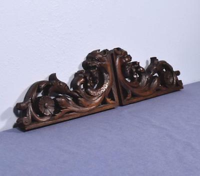 *French Antique Hunting Walnut Wood Brackets with Griffins Salvage