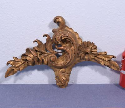 "*14"" French Louis XV Deeply Carved Antique Gilt Pediment/Crest Salvage"