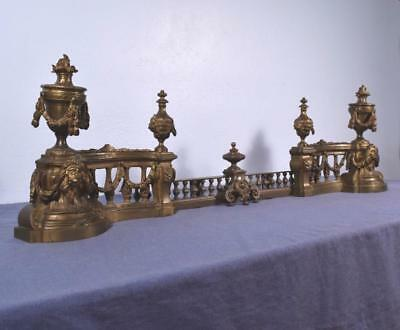 *Large Antique French Louis XVI Bronze Chenet Andirons Fireplace Set w/Lions