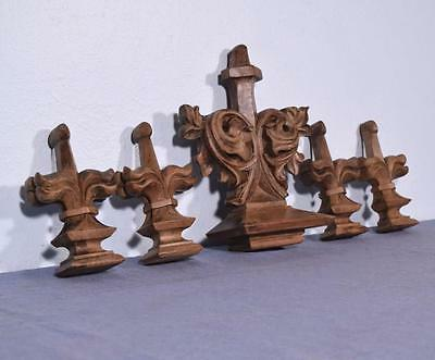 *Set French Antique Neo Gothic Pediment/Trim Pieces in Walnut Salvage