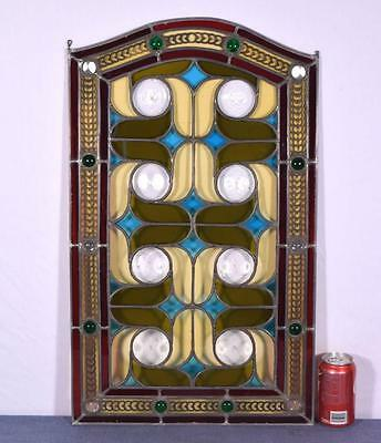 *Antique French Stained Glass Panel with Leaded Framing Window Hanging 1