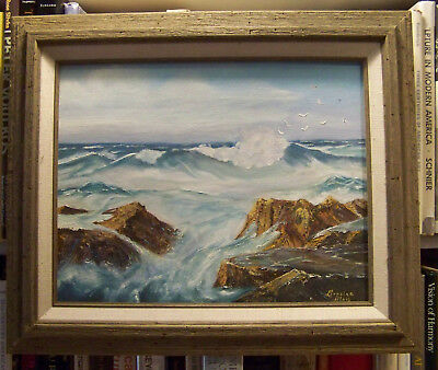 Great Seascape Vibrant Image Framed Oil On Board Painting Ocean Coastal Scene