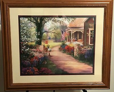 Homco Home Interiors Picture Artist Linda Wacaster Vibrant Colorful Flowers Flag