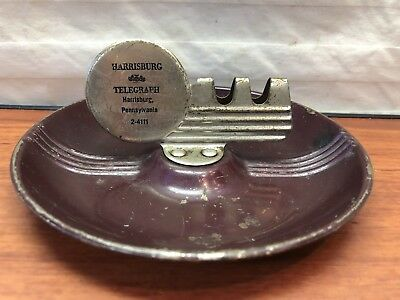Vintage 1950's Harrisburg Telegraph Harrisburg, PA. Advertising Tin Ashtray