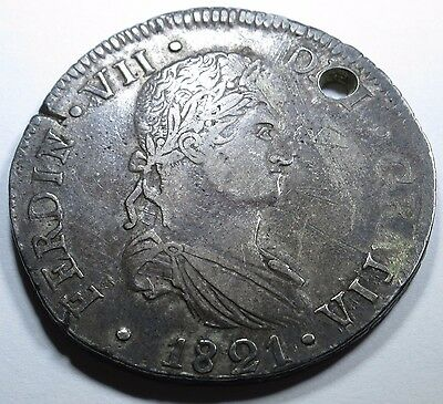 1821 CG Very Rare Durango 8 Reales Mexico Silver Spain Piece Of Eight Real Coin