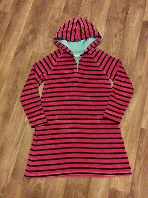 Girls Mini Boden Striped Hooded Dress Age 9-10 Years