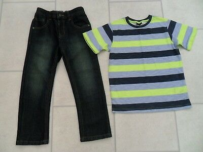 Boys George Denim Jeans & New Next Striped Top Age 5/6 Years