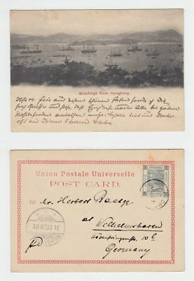 China Hongkong Old Postcard Greetings From Hong Kong Landscape To Germany 1900!!