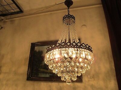 Antique Vnt.HUGE French Basket style Crystal Chandelier Lamp Light 1940's 16 in